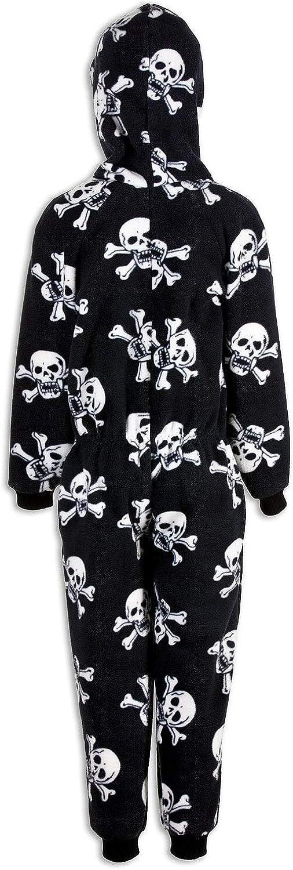 Blanco y Negro Camille Pijama Infantil de una Pieza Estampado de Calaveras Piratas