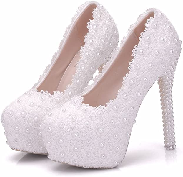 Crystal Queen White lace Wedding Shoes Pumps Thin Heels Platform Round Toe  high Heels White lace 3cad48a6405a