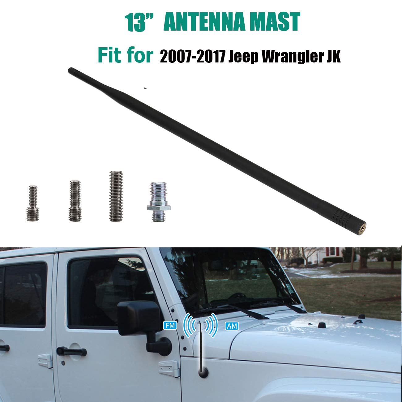 13 Inches Antenna Replacement Maintains AM FM Reception Antenna for Jeep Wrangler 2007-2017 RONGZHI