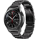 EloBeth for Samsung Gear S3 Stainless Steel Bands Link Bracelet Strap for Huawei Classic 2 / Gear S3 Classic/Gear S3 Frontier/Pebble Watch Band Black