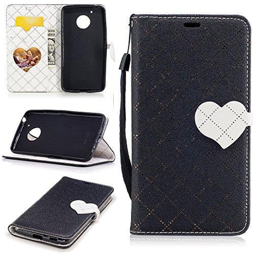Meet de LG K102017Funda de piel, [funda tipo cartera] [ranuras para tarjetas efectivo bolsa de cambio de piel sintética moda Color sólido Retro Entramado Diseño] suave TPU silicona parachoques Inter negro