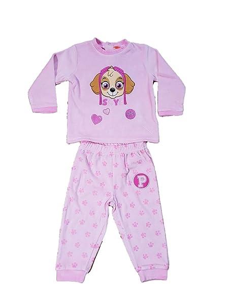 Patrulla Canina Pijama Dos Piezas para Bebe niña Color Rosa con Bordados (12 Meses)