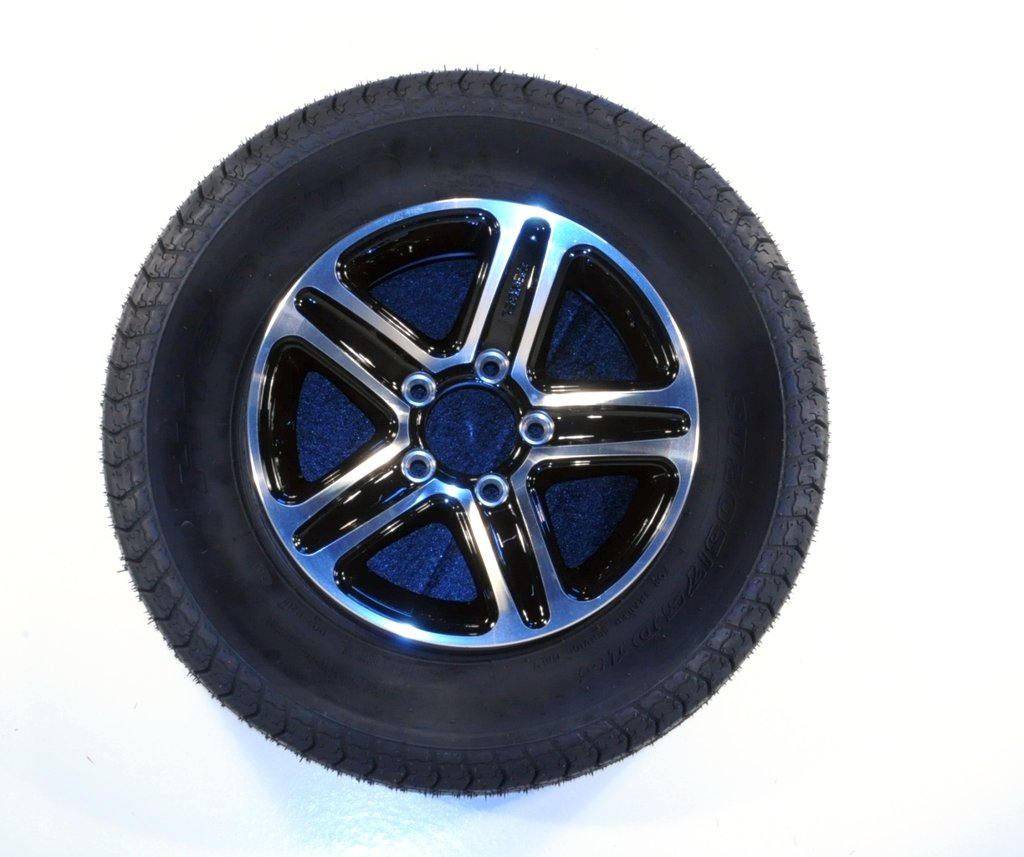 eCustomRim Trailer Tire & Rim 60214 ST185/80R13C 1480# 13X5 5-4.5 Aluminum Pinnacle Black