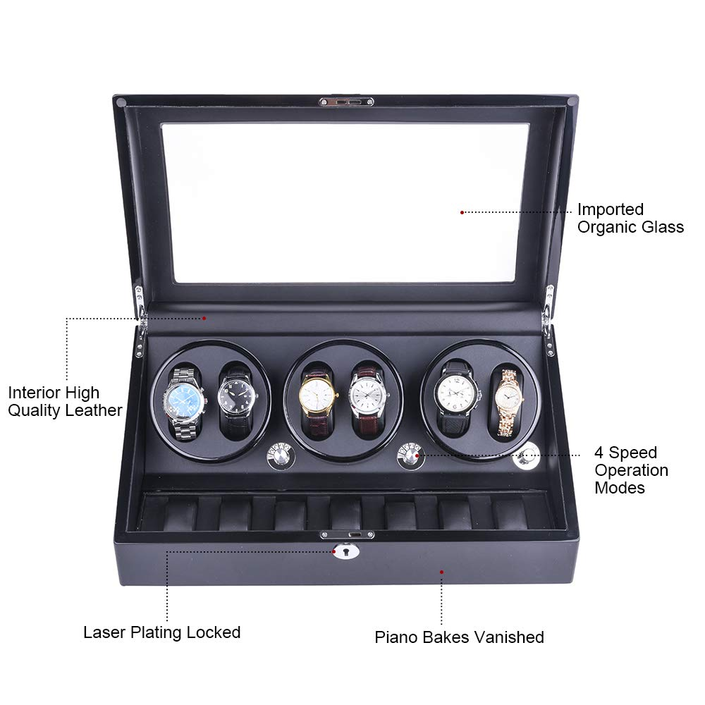 Amazon.com: udgtee XTELARY Luxury 3 Motor Automatic Watch Winder Display Box Case Storage 6+7 (R3671B): Home & Kitchen