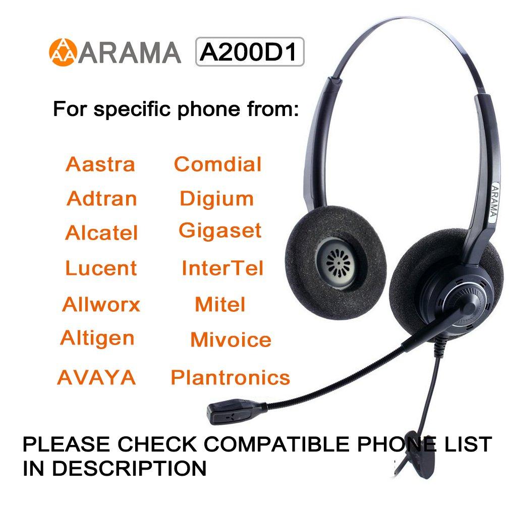 Arama Binaurale Corded Headset mit Noise Cancelling Mikrofon für ...