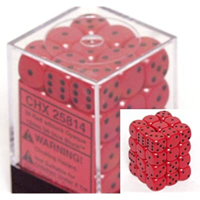 Chessex Dice d6 Sets: Opaque Red with Black - 12mm Six Sided Die (36) Block of Dice: Toys & Games