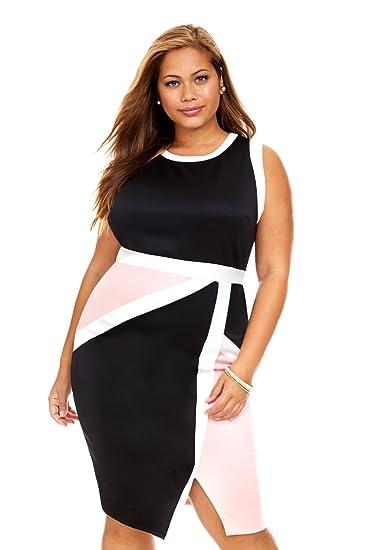 Women\'s Plus Size Gemma Colorblock Bodycon Dress at Amazon Women\'s ...