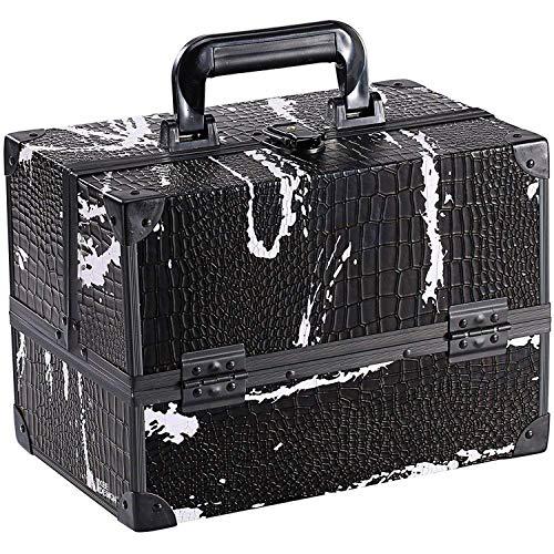Ikee Design Makeup Train Case. Markup Organizer. Cosmetic Box w/Adjustable Divider Trays, Black