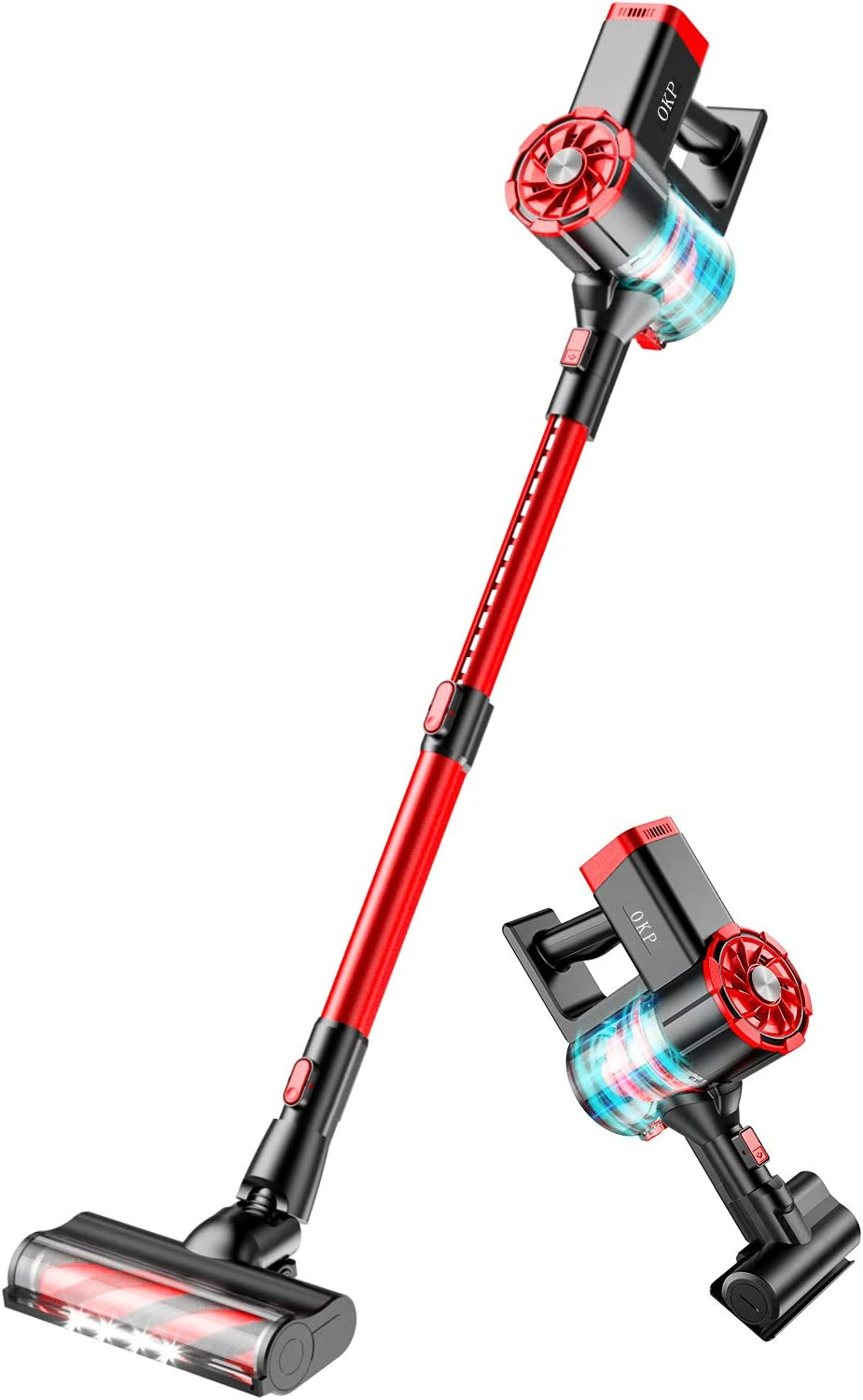 Cordless Vacuum Cleaner 4 in 1 Powerful Suction 21KPa Stick Handheld Wireless Vacuums Cleaner Lightweight for Home Hard Floor Carpet Car Pet Hair OKP S100