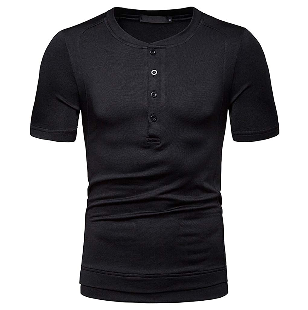 Men Solid Basic Short Sleeve T-Shirts,Serzul New Summer Button Down Dress Blouse Rolled Up Casual Tees for Work//Business