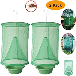 Ranch Fly Trap | Most Effective Trap Ever Made with Fishing Apparatus | Food Bait Flay Catcher for Outdoor, Family Farms (2)