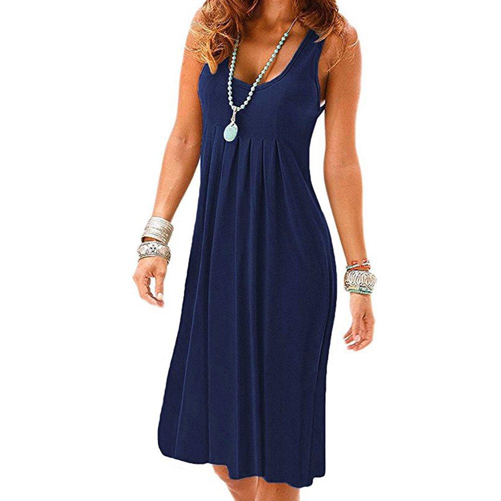 Libermall Women's Dresses Summer Sleeveless Halter Plain Pleated Tunic Mini Tank Dress Beach Sundress Navy