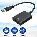 USB HDMI 変換アダプタ HDMI 変換コネクタ USB3.0 1080P 高画質 安定出力マルチディスプレイ アダプタ 外付け ディスプレイ コンパクトで持ち運び便利 変換ケーブル (黑)
