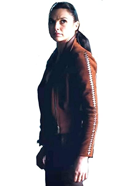 d224ccaec0287 Woman's Diana Prince Gal Gadot Suede Brown Leather Jacket: Amazon.ca ...