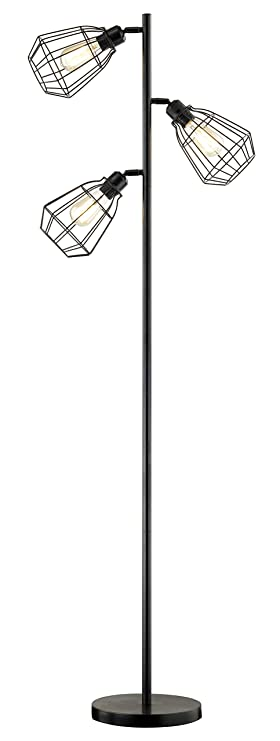 Leezm Modern 3 Light Tree Floor Lamp Black Rustic Bright Tall