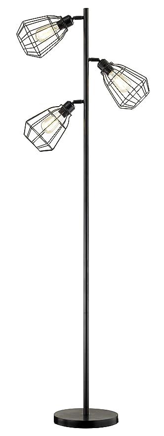 Leezm Modern 3 Light Tree Floor Lamp Black Rustic Bright Tall