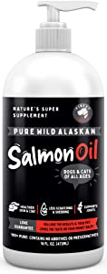 Pure Wild Alaskan Salmon Oil for Dogs & Cats - Relieves Scratching & Joint Pain, Improves Skin, Coat, Immune & Heart Health. All Natural Omega 3 Liquid Food Supplement for Pets. EPA + DHA Fatty Acids