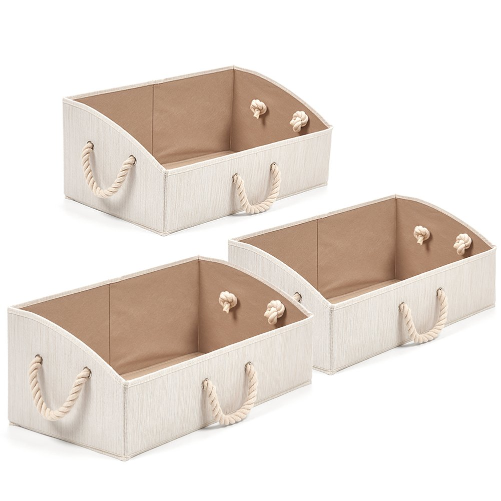 Set of 3 Storage Bins EZOWare Foldable Bamboo Fabric Trapezoid Storage Organizer boxes with Cotton Rope Handle, Collapsible Basket for Shelves, Closet, Baby toys, diaper, and More - Beige/Large