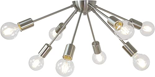 VINLUZ 8 Lights Flush Mount Light Fixtures Ceiling Brushed Nickel Modern Sputnik Chandelier Indoor Industrial Chandelier Lighting for Dining Room Bedroom Kitchen Living Room Hallway