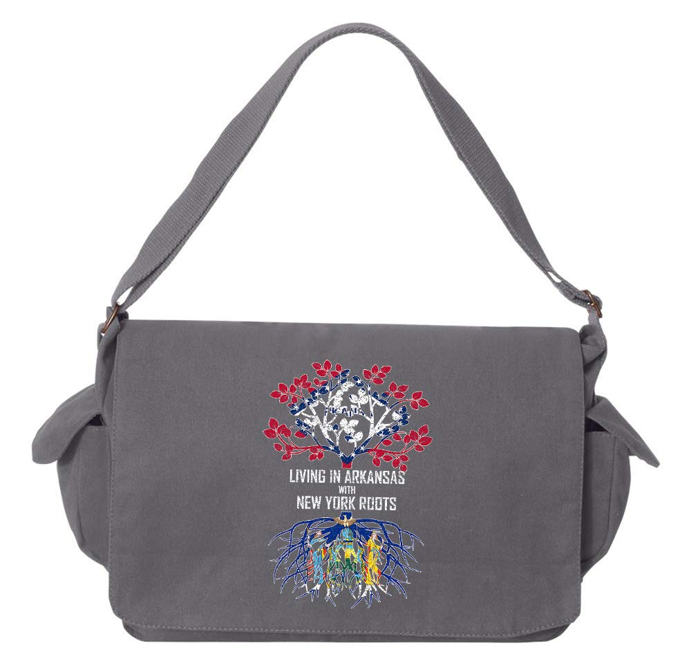 Tenacitee Living In Arkansas with New York Roots Grey Brushed Canvas Messenger Bag