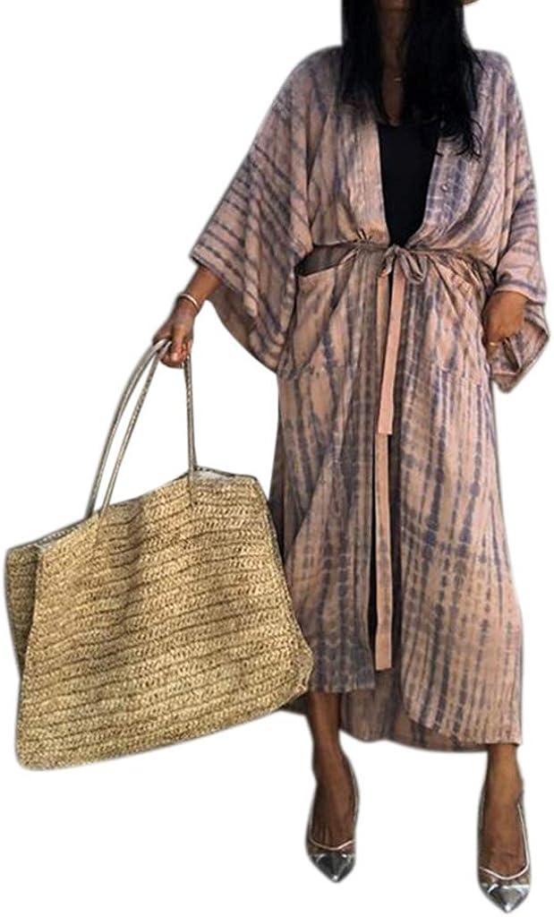 VVXXMO Cárdigan tipo kimono con estampado de rayas tie-dye, manga larga con protector solar, vestido maxi con cinturón, traje de baño delantero abierto