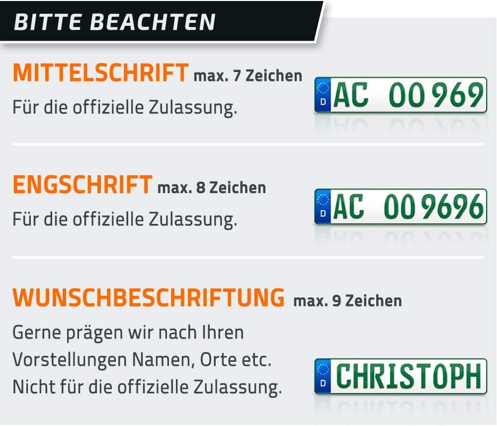 Sport /& Pferde Anh/änger DIN-Zertifiziert mit individueller Pr/ägung Nummernschilder Traktor Folgekennzeichen schildEVO 2 gr/üne Kennzeichen DHL Bootsanh/änger 520 x 110 mm