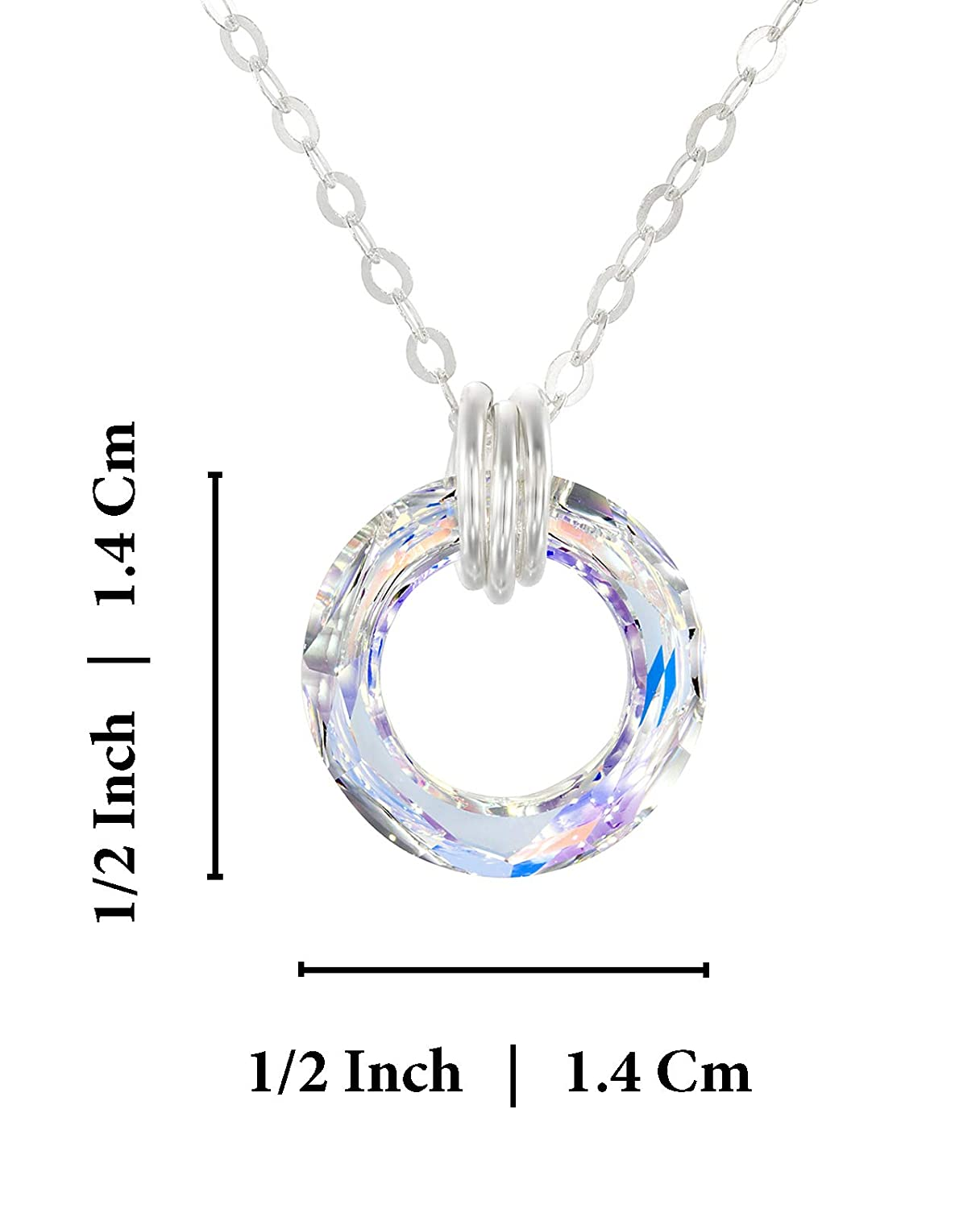 8b1fad654 Amazon.com: Circle AB Crystal Ring Pendant Made with Original Swarovski 925  Sterling Silver Necklace, 18