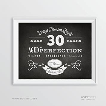 Andaz Press Milestone Birthday Wall Art Poster Signs 30th Gifts Decorations And Party