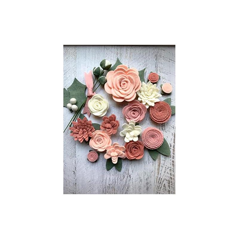silk flower arrangements 18 flowers & 24 leaves - wool felt flowers - pastel blush diy christmas flower embellishment - wreaths, garlands, headbands,