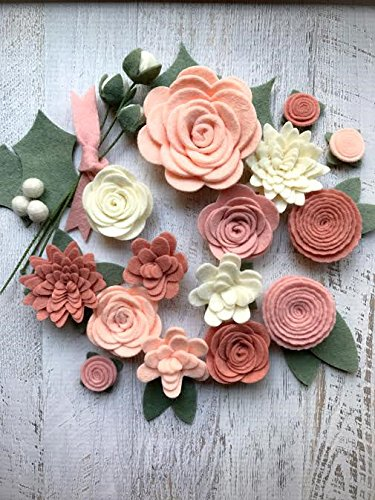 18 Flowers & 24 leaves - Wool Felt Flowers - Pastel Blush DIY Christmas Flower Embellishment - Wreaths, Garlands, Headbands,