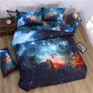 3D Mysterious Boundless Galaxy Colorful Outer Space Bedding Sets Bedlinen Duvet/Quilt Cover Set 4pcs Queen Size ( Color - A)