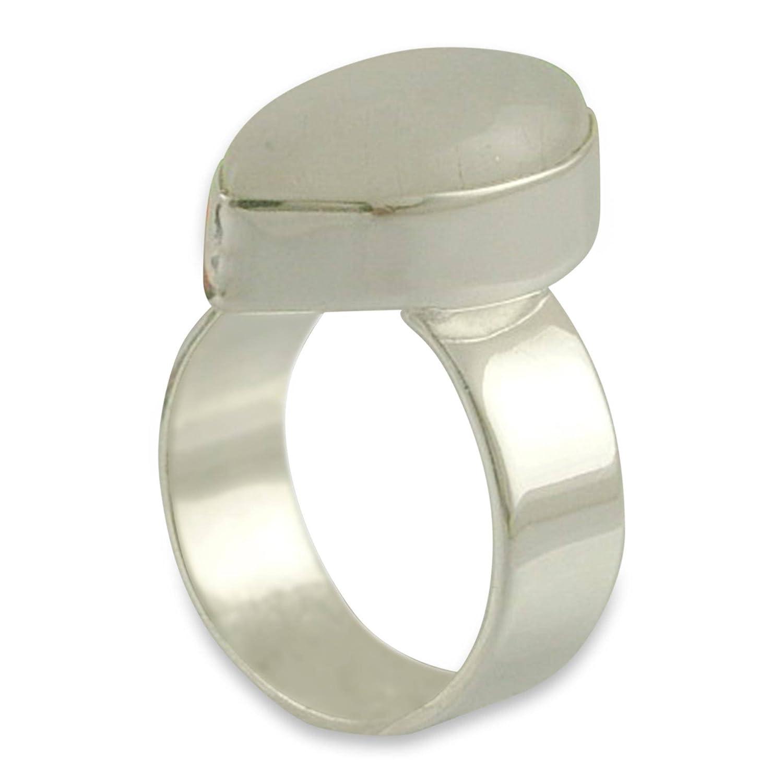 NOVICA Rainbow Moonstone .925 Sterling Silver Handmade Modern Ring Asymmetry