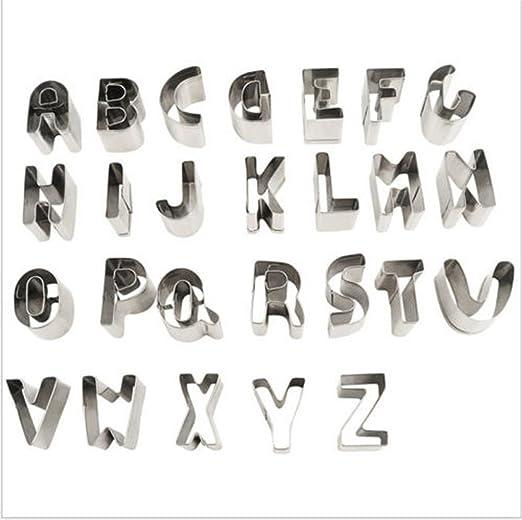 Molde para moldes de fondant de 26 letras para galletas, molde de metal para el hogar y postre: Amazon.es: Hogar
