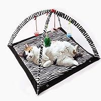 GTTBS Katze Spielt Matte, Katze Faltendes Mehrzweckzeltbett, Tigermuster Zebramuster Mit Kleinem Spielzeughaustier, Das Spielzeltmatte -61 * 61 * 34cm Kriecht