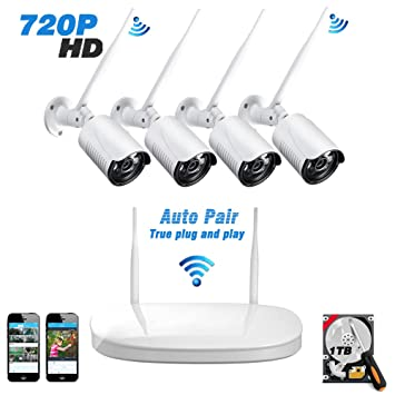 Kit Cámaras de Vigilancia WiFi Exterior 720P, Sistema de Alarmas Casa Inalámbrica, Videovigilancia de Seguridad IP Interior con 4CH NVR Visión ...
