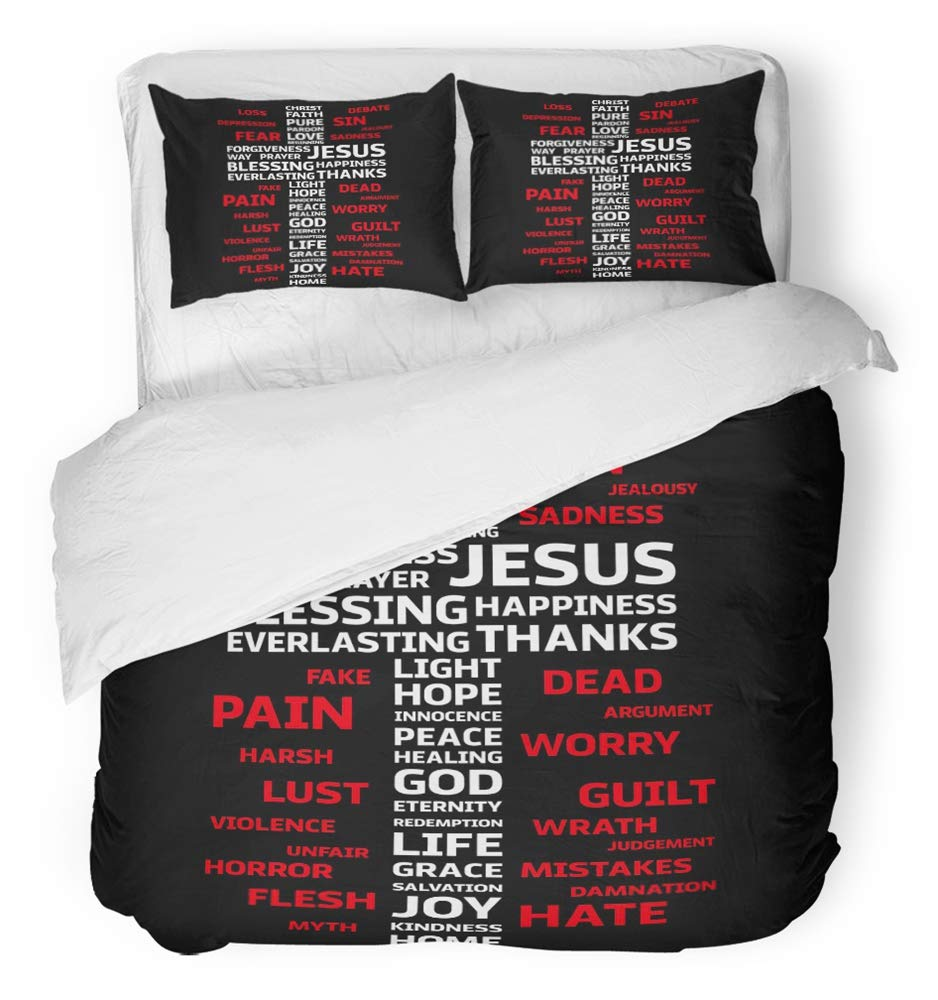 Emvency Bedsure Duvet Cover Set Closure Printed Decorative Bible Christian Cross with Religion Words Jesus Scripture Bible Backgrounde Breathable Bedding Set With 2 Pillow Shams Full/Queen Size