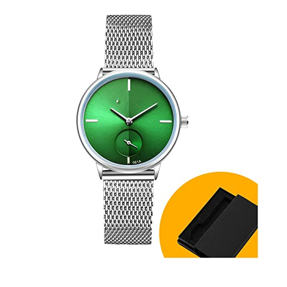 Amazon.com: Women Watch Stainless Steel Quartz Watch Lady Casual Wristwatch Bracelet Watches Women Female Clock Gift Bracelet,Green Dial in Box: Cell Phones ...