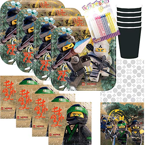 Lego Ninjago Theme Party Plates Napkins Cups Table Cover Serves 16 with Birthday Candles (Bundle of 73 -