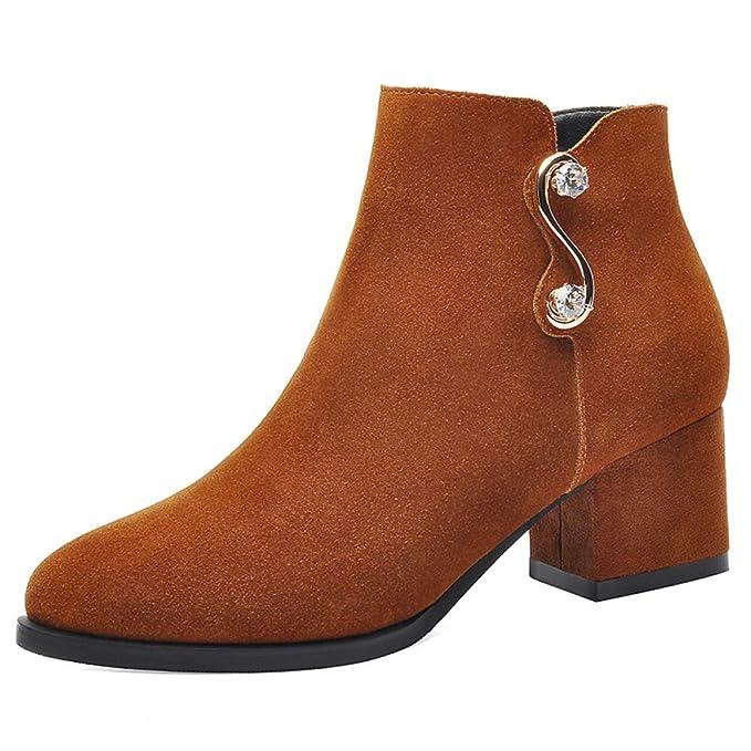 HGDR Damas De Mujer Botines De Gamuza Medias De Tacón Alto Bloques Con Cremallera Zapatos De