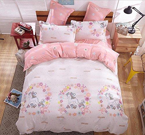 4b15f83f179 LAGHCAT Kids Bedding Sets Cartoon Pink Unicorn Printed Sheet Set Bedlinens  for Teens Boys Girls Bed Twin Size 4Pcs Duvet Cover Set