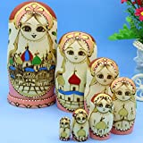 LK King&Light 7pcs castle pattern Wooden nesting toys Russian dolls Matryoshka stacking dolls
