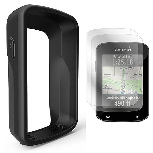 TUSITA Housse en Silicone + Protecteur d'écran pour Garmin Edge 820/Edge 820 Explore la Couverture Coque de l'ordinateur GPS Bike (Noir)
