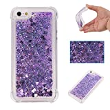 "Liquid Case for iPhone 6S Plus 5.5"",Floating Case for iPhone 6 Plus 5.5"",Leeook Luxury Beauty Bling Shiny Sparkle Glitter Cover Purple Love Heart Quicksand Flowing Creative Design Crystal Transparent Clear Plastic Soft TPU Protective Shock Proof Shell Case Cover Bumper for iPhone 6S Plus/6 Plus 5.5"" + 1 x Free Black Stylus"