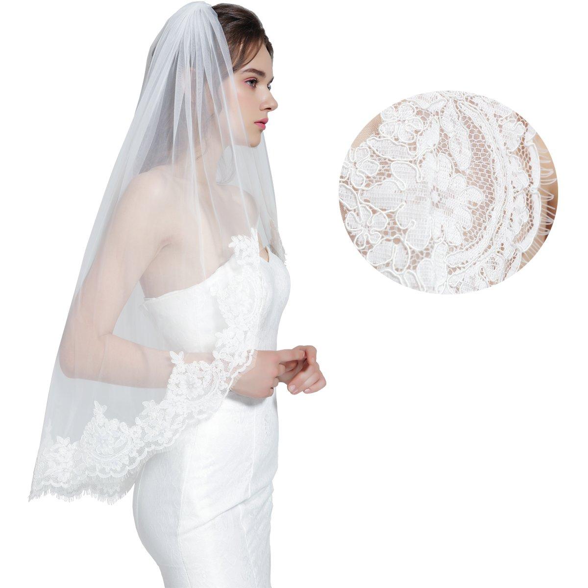 Wedding Bridal Veil with Comb 1 Tier Eyelash Lace Trim Applique Edge Fingertip Length 37'' Ivory