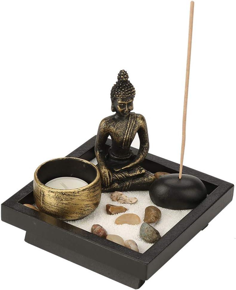 Walfront Tabletop Buddha Statue,Buddha Statue Zen Garden Set Sand Meditation Peaceful Relax Decor Set