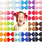 40pcs Baby Girls Hair Bows in Pairs 3'' Ribbon Bows Alligator Hair Clips Barrettes for Infants Toddlers Girls Kids