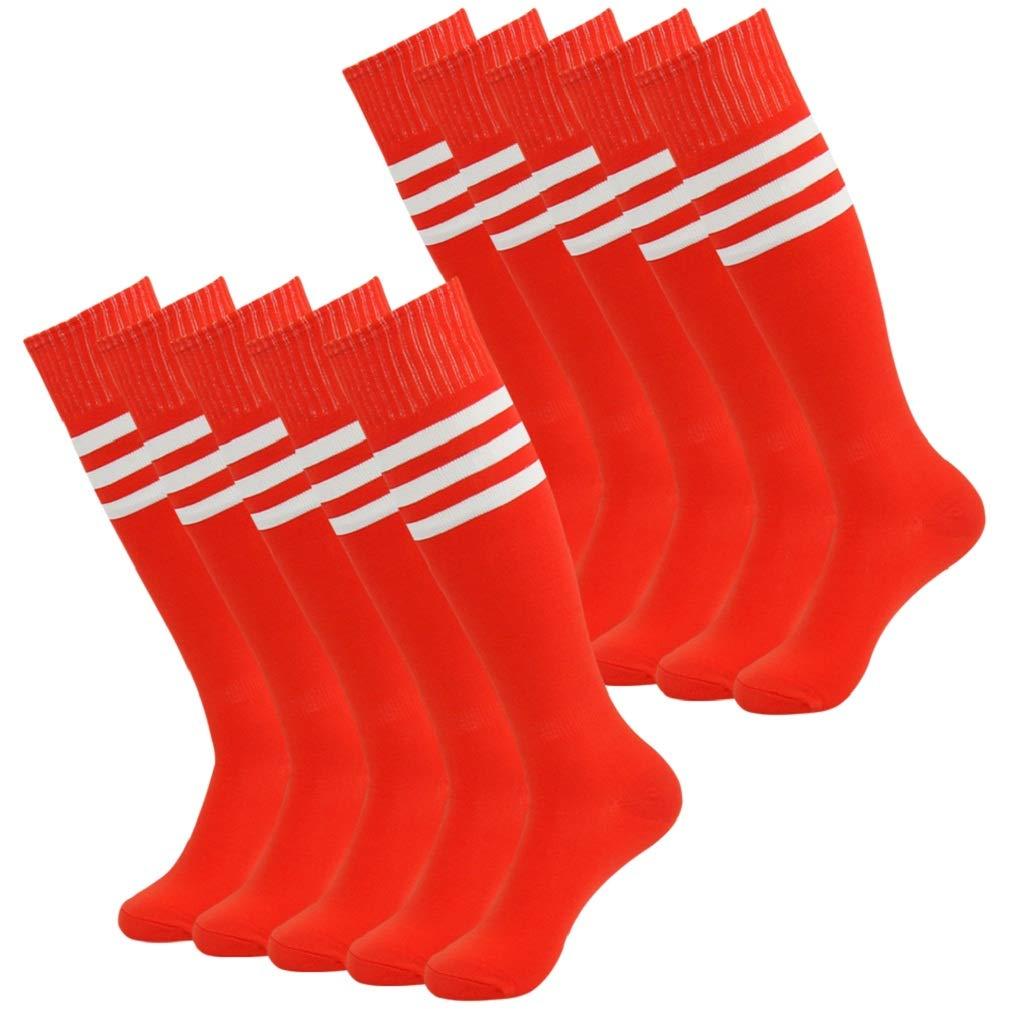 3street Stockings Soccer Adult Unisex HeatGear Summer Thin Athletic Over Calf Striped Softball Football Baseball Socks for School Uniform Red+White Stripe 10-Pairs,7-13 by Three street