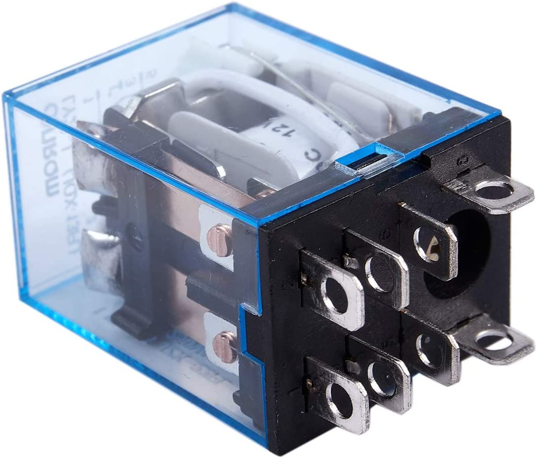 Camisin 12V Coil Power Relay DPDT LY2NJ HH62P-L JQX-13F 10A with PTF08A Socket Base