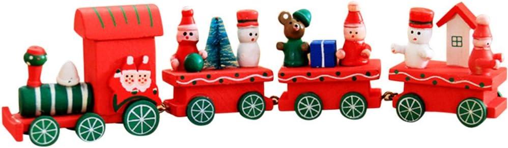 Holacha Pequeño Tren de Navidad, Decoraciones de Navidad Hecho de Maderas para Niños Jardín de Infancia Festivo (Rojo)