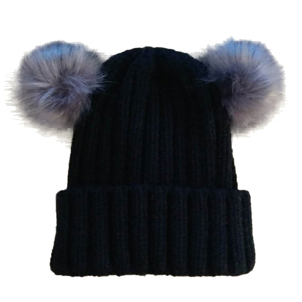 Toddler Kids Dual Balls Warm Winter Knitted Hat Beanie Cable Baby Girl Boy Faux Fuzzy Fur Cap Jinjiums Baby Hats